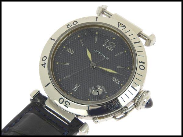 091円☆03楽市☆本物 カルティエ Cartier パシャC メンズ オートマ 腕時計 1040 グレー文字盤 旧型_画像3