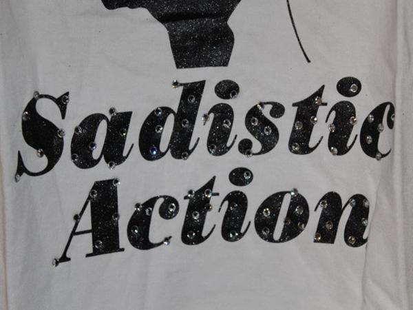 サディスティックアクション SADISTIC ACTION レディースタンクトップ ホワイトxブラック 新品_画像4