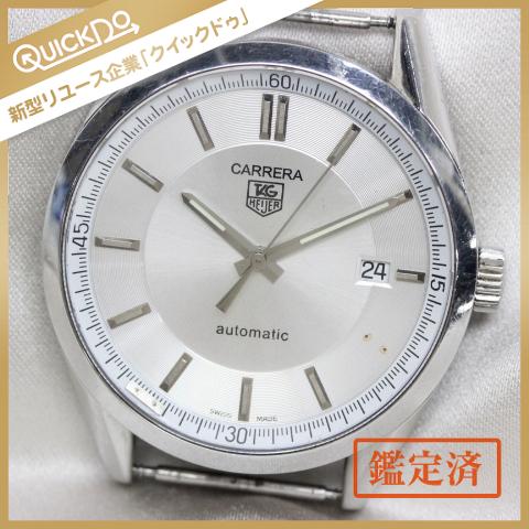1円 タグホイヤー TAG Heuer 腕時計 フェイス カレラ キャリバー5 WV211A デイト 自動巻き メンズ シルバー系