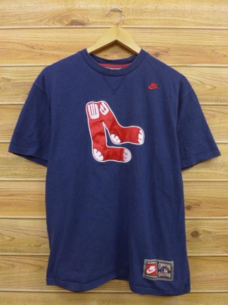 L★古着 中古 Tシャツ ナイキ NIKE MLB ボストンレッドソックス 紺 17aug08 グッズの画像