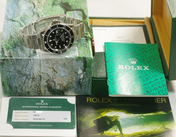 ギャラ付 A番 ポリッシュ済 ROLEX 16610 サブマリーナデイト フルコマ_箱 保証書 国際サービス保証書(2010年)