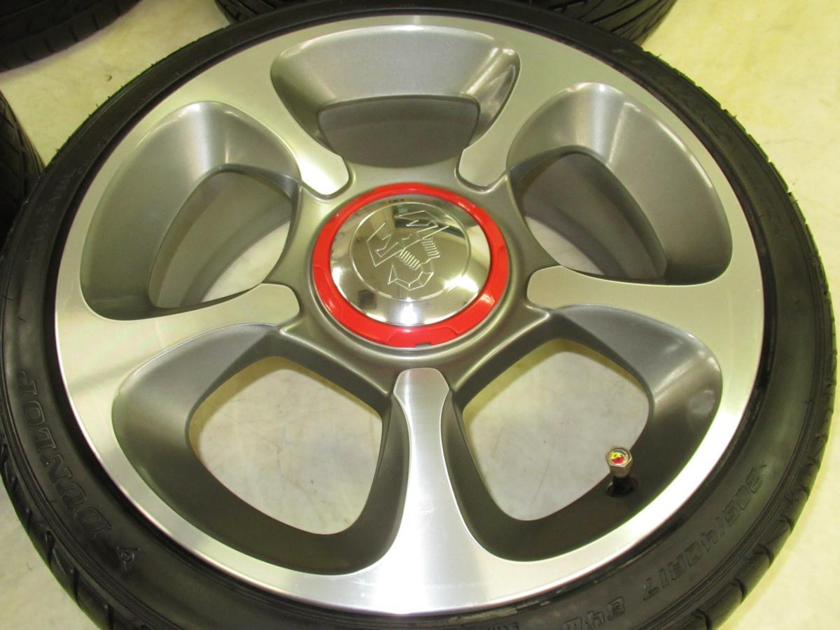 フィアット(FIAT)500アバルト 7J-17 off+33 pcd98/4H 205/40R17 タイヤ付き4本セット_画像4