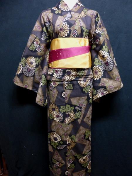 ☆オリジナル製レトロ木綿着物(ゆかた)+帯セット現品限り⑩_レトロな菊の花が印象的!