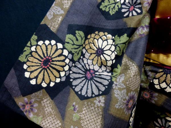 ☆オリジナル製レトロ木綿着物(ゆかた)+帯セット現品限り⑩_合わせる帯でイメージがかわります