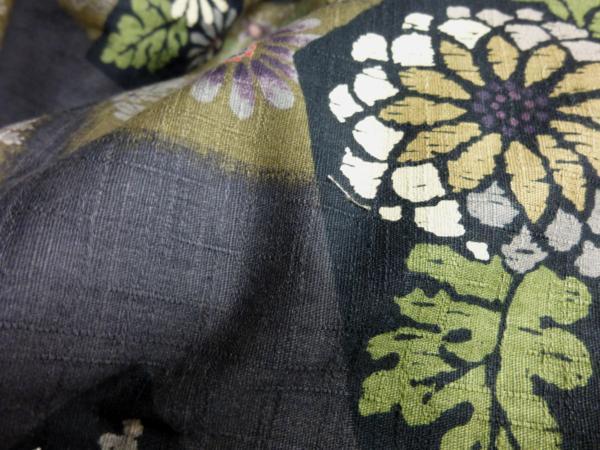 ☆オリジナル製レトロ木綿着物(ゆかた)+帯セット現品限り⑩_紬のような節感があり生地に高級感が!