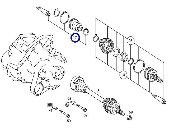 Fr ドライブシャフトブーツキット (インナー) +ハブロックナット(同時交換) x各1/W638 Vクラス V230 V280 (000-330-1485+638-334-0072)_画像2