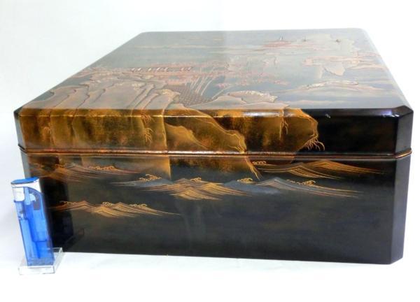 ◆豪華!螺鈿入り蒔絵 大箱(41cm)◆鶴/日の丸/山水図◆骨董美術_画像3