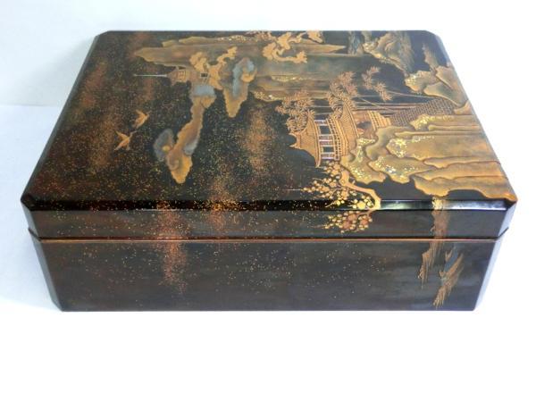 ◆豪華!螺鈿入り蒔絵 大箱(41cm)◆鶴/日の丸/山水図◆骨董美術_画像4
