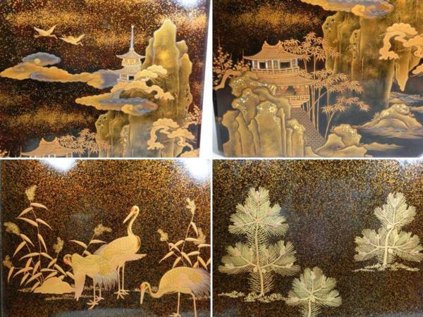 ◆豪華!螺鈿入り蒔絵 大箱(41cm)◆鶴/日の丸/山水図◆骨董美術_画像8
