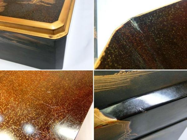 ◆豪華!螺鈿入り蒔絵 大箱(41cm)◆鶴/日の丸/山水図◆骨董美術_画像10