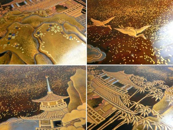 ◆豪華!螺鈿入り蒔絵 大箱(41cm)◆鶴/日の丸/山水図◆骨董美術_画像9