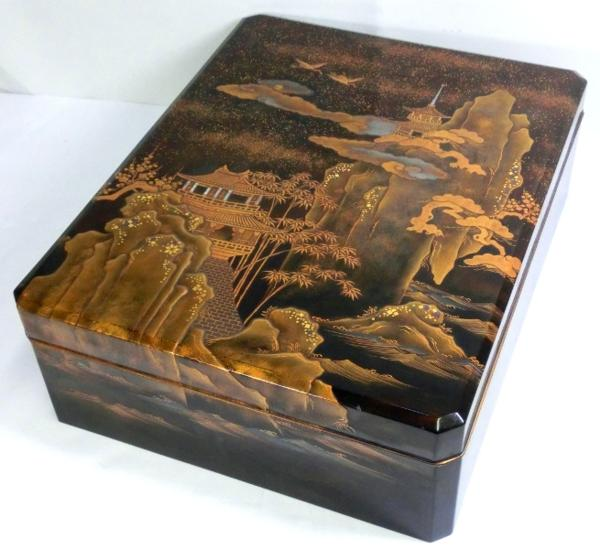◆豪華!螺鈿入り蒔絵 大箱(41cm)◆鶴/日の丸/山水図◆骨董美術