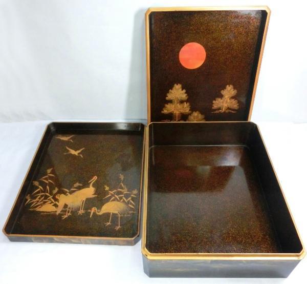 ◆豪華!螺鈿入り蒔絵 大箱(41cm)◆鶴/日の丸/山水図◆骨董美術_画像2
