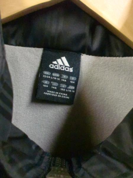売り切りSALE!!adidasナイロンJKブラック☆USAブランドシンプル重宝S_画像3