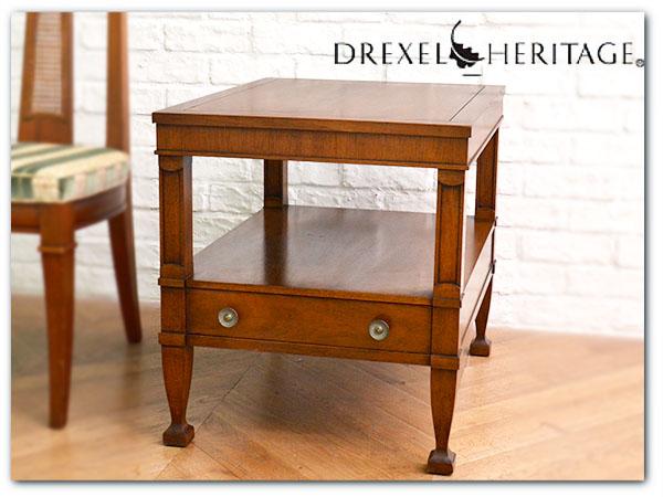 IZ23984I◎定価19万 Drexel Heritage トライユン エンドテーブル 引出付き ナイトテーブ