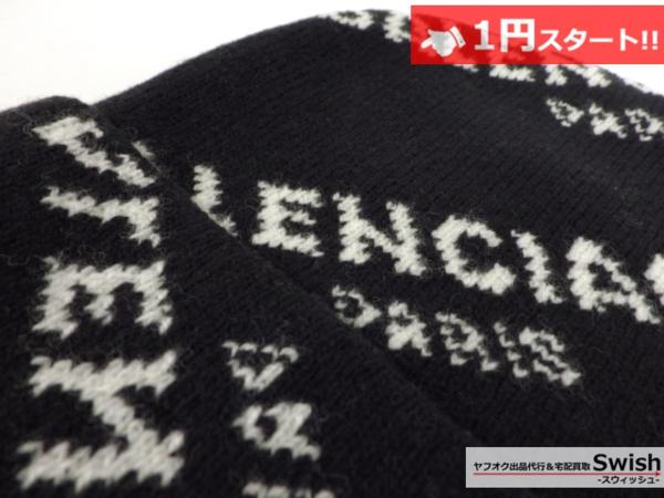 A895●BALENCIAGA バレンシアガ●新品 ロゴ柄 ニットキャップ 黒●_画像5