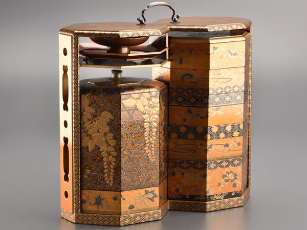 【流】古美術品 極上蒔絵 野弁当箱 ウブ出し品 BH455