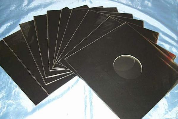 (サプライ) 12インチサイズ 黒色紙ジャケット(穴有り) 10枚セット_画像1