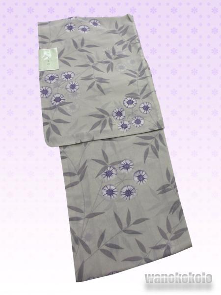 【和の志】夏の洗える着物◇紗小紋・L◇グレー系・草花・56_画像1