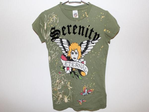 エドハーディー ED HARDY レディース半袖Tシャツ XSサイズ グリーン 正規品 新品_画像1