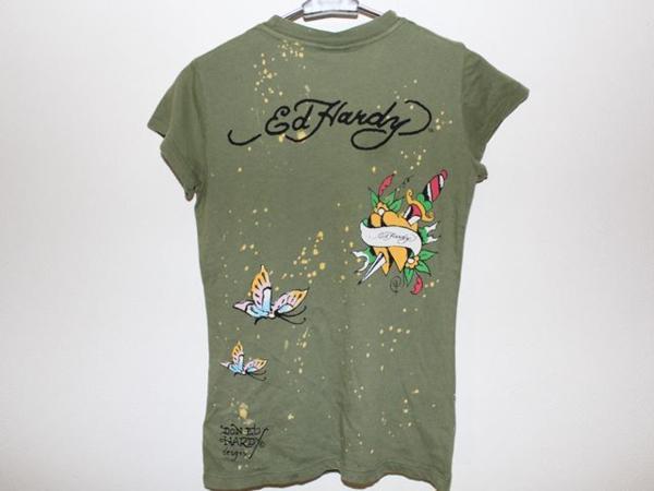 エドハーディー ED HARDY レディース半袖Tシャツ XSサイズ グリーン 正規品 新品_画像4