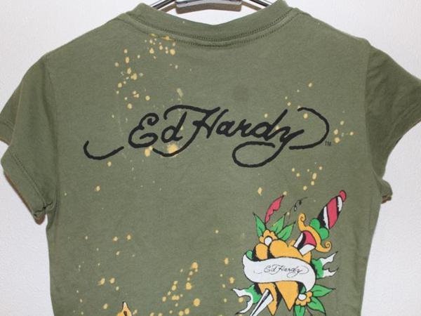 エドハーディー ED HARDY レディース半袖Tシャツ XSサイズ グリーン 正規品 新品_画像5