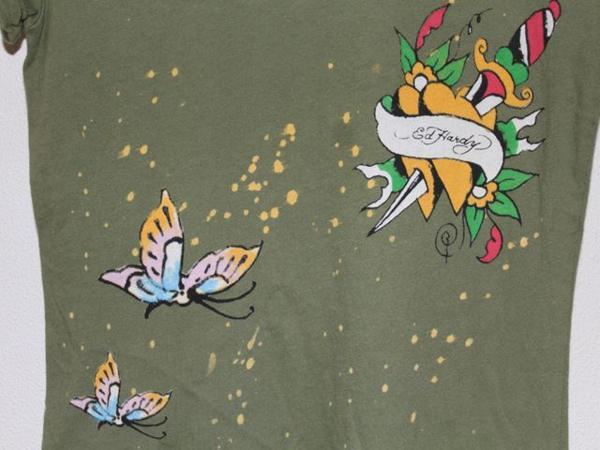エドハーディー ED HARDY レディース半袖Tシャツ XSサイズ グリーン 正規品 新品_画像6