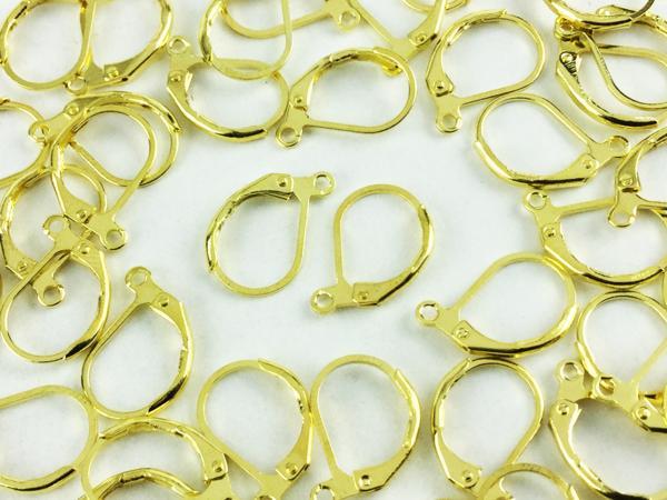 送料無料 フレンチ フック ピアス パーツ 40個 ゴールド カン 付き アクセサリー ハンドメイド 素材 金具 金 色 (AP0260)