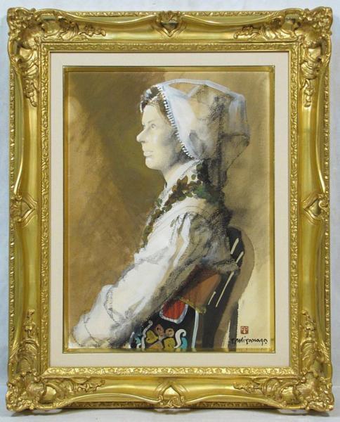 宮永岳彦 「女性像」 額装8号 民族衣裳の女性、品格・風格ともに満点です