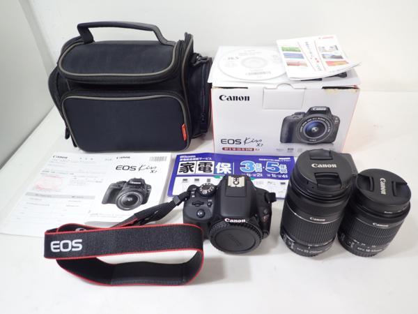 極美品 Canon キヤノン EOS kiss X7 ダブルズームキット デジタル一眼レフ 5月購入有効保証書付 ★ 4DA6D-1