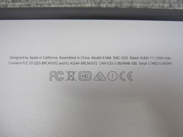 A6236 Apple MacBook Air A1466 13-inch Early 2015 SSD無し 現状品_画像7