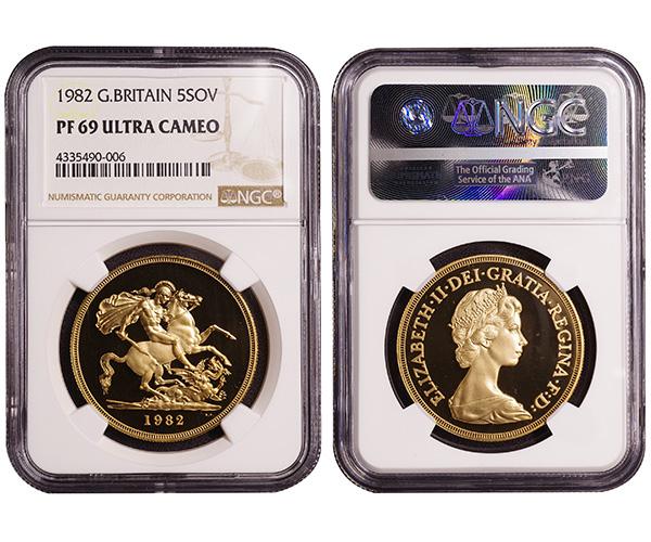 英国 5ポンド金貨 1982年 完全未使用品プルーフ エリザベス2世 NGC PF69UC