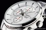 1円 セイコー 逆輸入 ホワイトシルバー 100m防水 クロノグラフ 腕時計