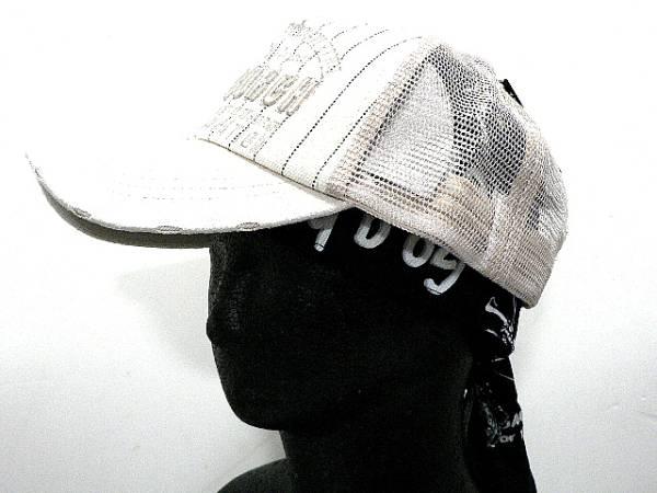 コットンダメージCAPベージュつばPUロゴ刺繍ストライプ帽子_画像2