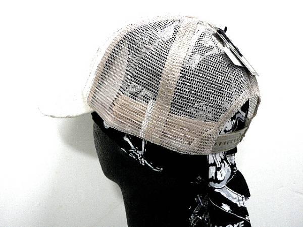 コットンダメージCAPベージュつばPUロゴ刺繍ストライプ帽子_画像3