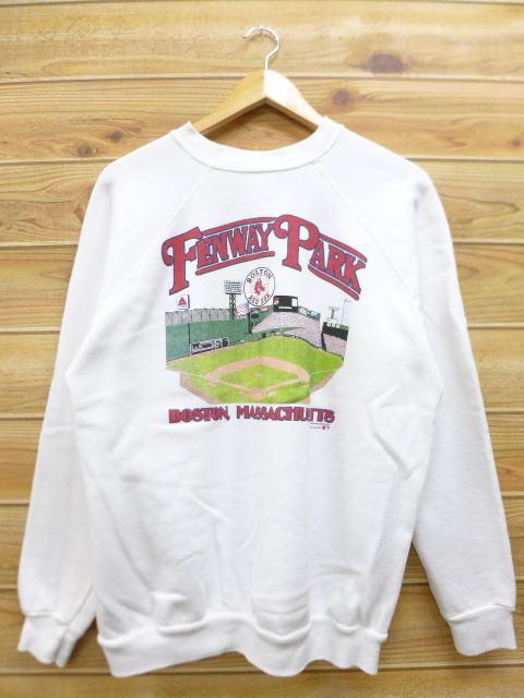 L★古着 スウェット 80年代 MLB ボストンレッドソックス フェンウェイパーク USA製 白 ホワイト 【spe】 中古 メンズ 長袖 スエット トレー グッズの画像