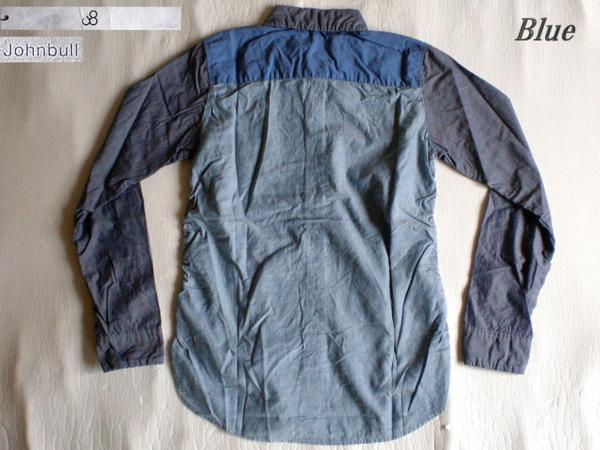 4ls◆日本製 johnbull 切替シャーリングシャツ(BLUE/S)新品!_画像2