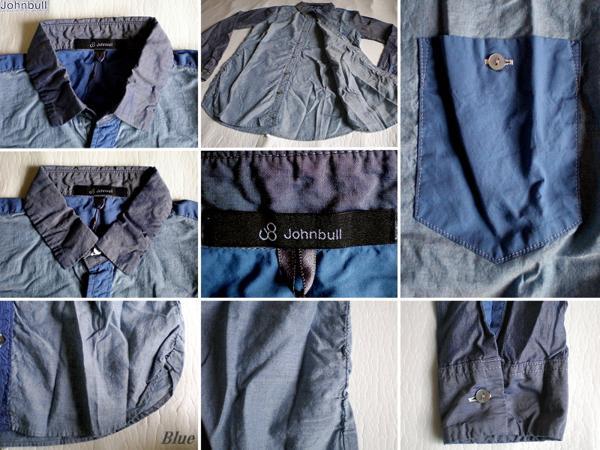 4ls◆日本製 johnbull 切替シャーリングシャツ(BLUE/S)新品!_画像3