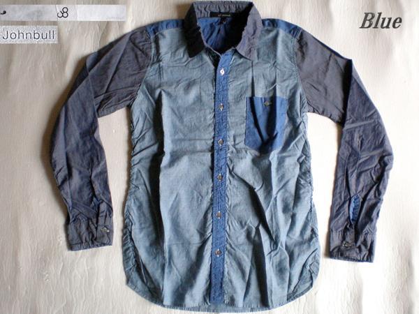 4ls◆日本製 johnbull 切替シャーリングシャツ(BLUE/S)新品!_画像1