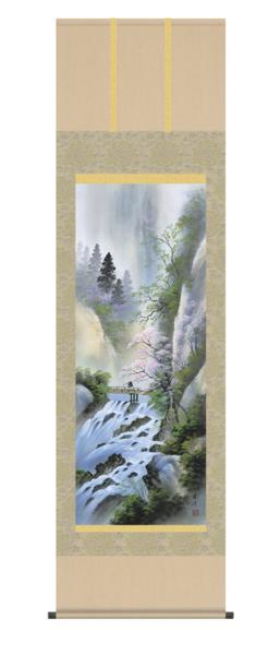 掛け軸 日本製 山水風景 「四季彩遷(桜花爛漫)」 秀峰 尺五寸