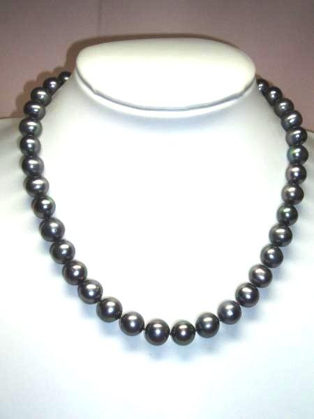 sv168b贅沢な♪大粒天然淡水真珠/ブラックパールネックレス_画像1
