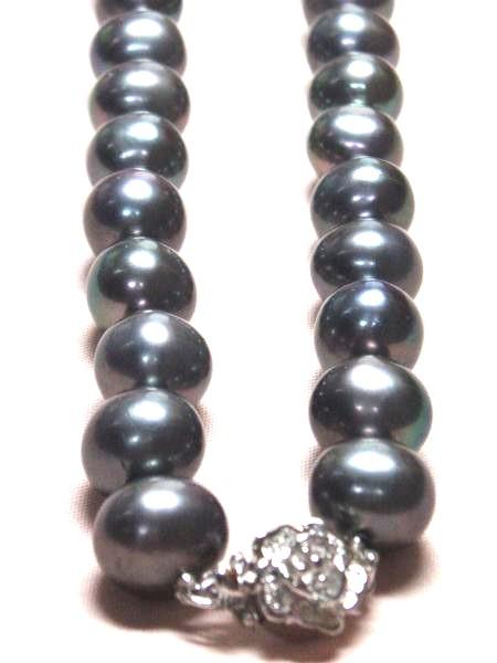 sv168b贅沢な♪大粒天然淡水真珠/ブラックパールネックレス_画像3
