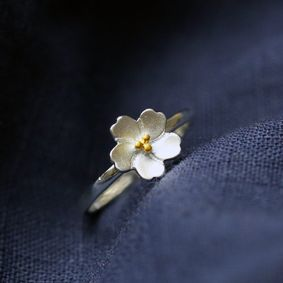 新品 フリサイズ 桜 さくら 花モチーフ 輪リング_画像1