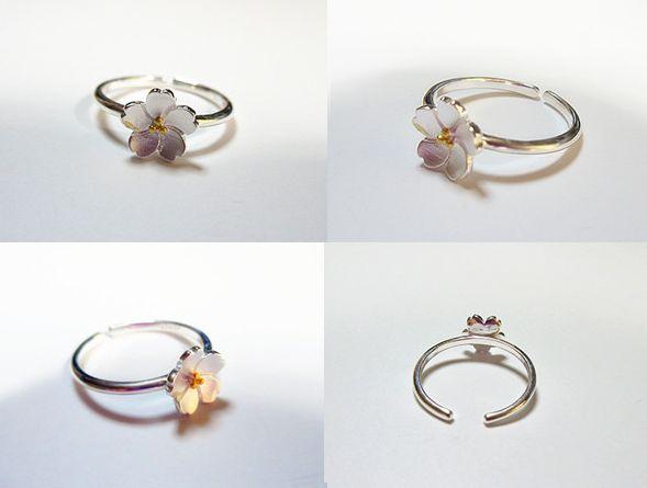 新品 フリサイズ 桜 さくら 花モチーフ 輪リング_画像2