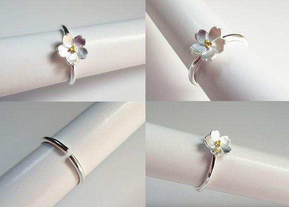 新品 フリサイズ 桜 さくら 花モチーフ 輪リング_画像3