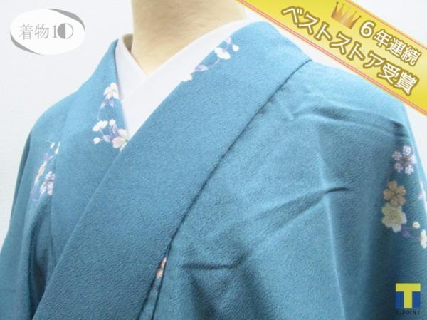 ★着物10★ 1円 化繊 桜 花丸文 袷 小紋 身丈162cm 裄68cm ☆☆