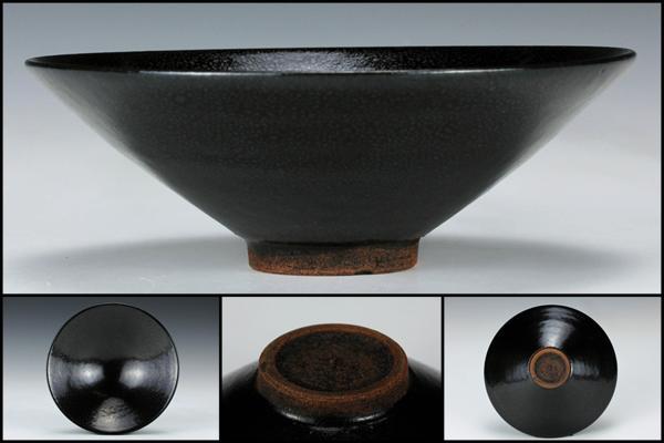 【佳香】時代 中国古玩 油滴天目平茶碗 茶道具 桐箱 保証