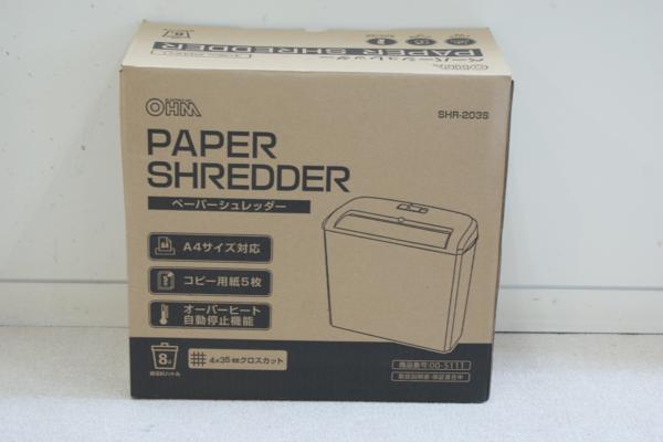 ⑥ 新品未使用 OHM ペーパーシュレッダー SHR-203S