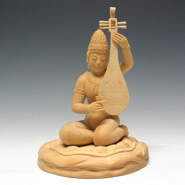 【Ryusho】送料無料! 桧 弁才天像 20cm ◆木彫り仏像弁財天現品即納