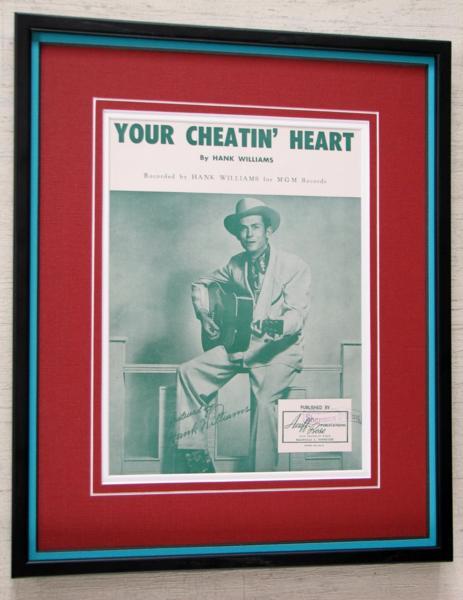 ハンク・ウィリアムス/1952オリジナル楽譜/額装/Hank Williams